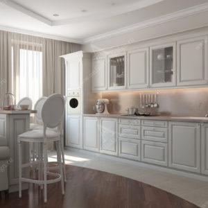 Дизайн проект интерьера квартиры в белых тонах с Светлой кухней гостиной