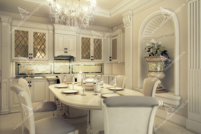 Дизайн белой кухни в Классическом стиле
