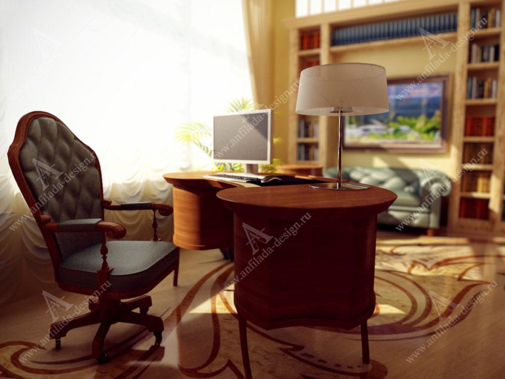 Дизайн проект кабинета в стиле Модерн
