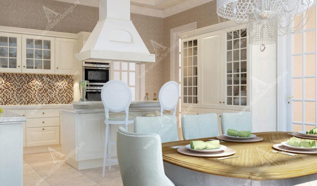 Дизайн интерьера кухни в загородном доме в светлых тонах