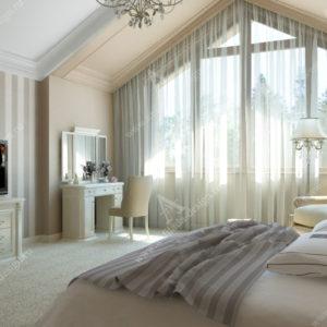 Спальня на мансарде в коттедже