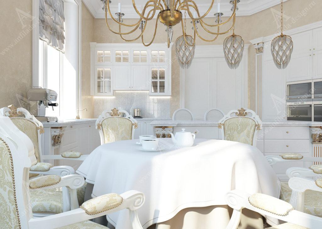 Дизайн кухни в загородном доме. Белый интерьер