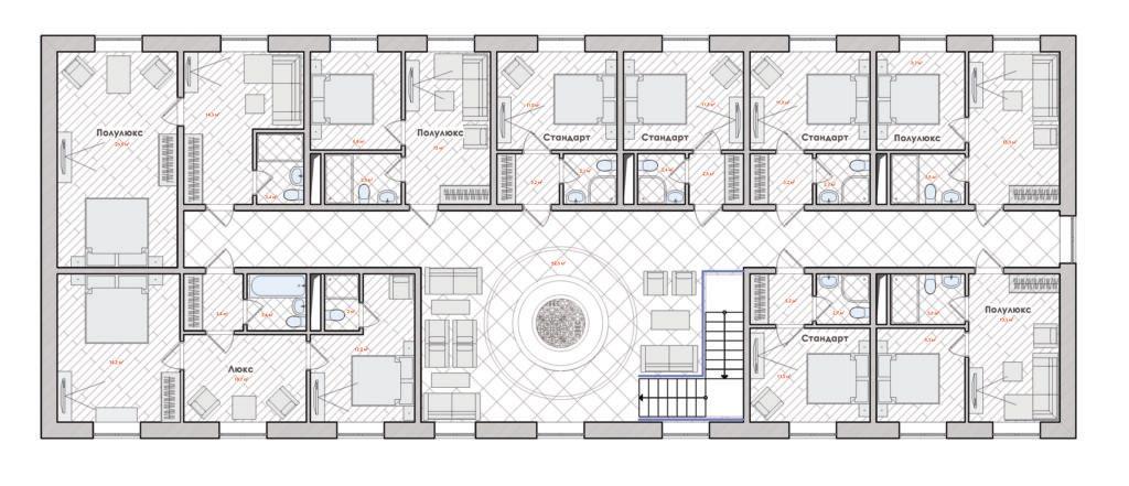 Планировка гостиницы