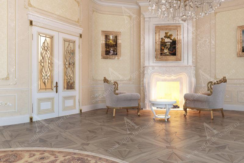 Интерьер гостиной в классическом интерьере загородного дома