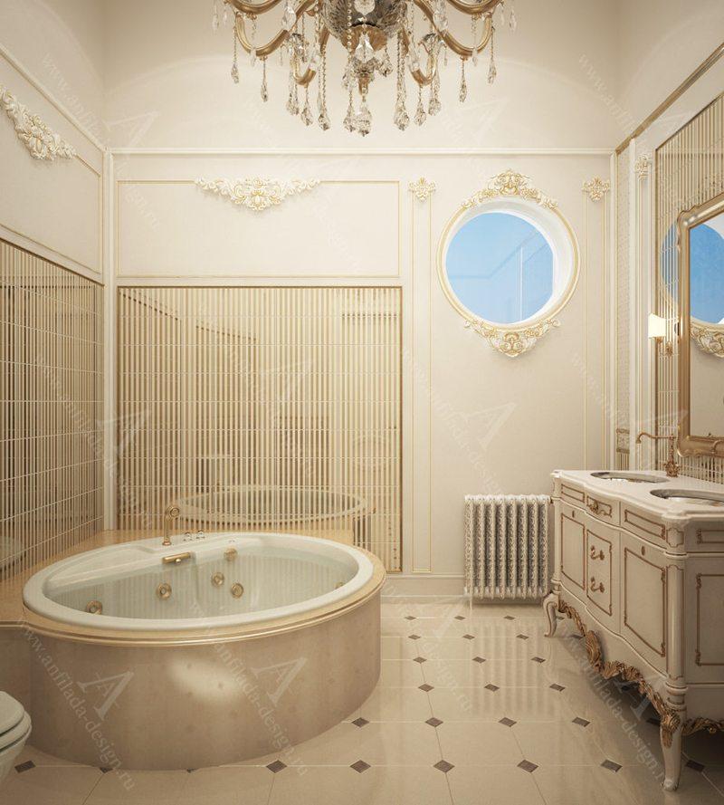 Ванная загородном доме в классическом стиле