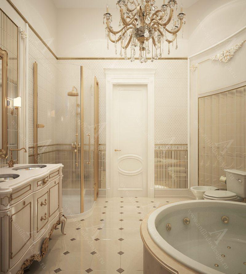 Ванная загородном доме в стиле Классика