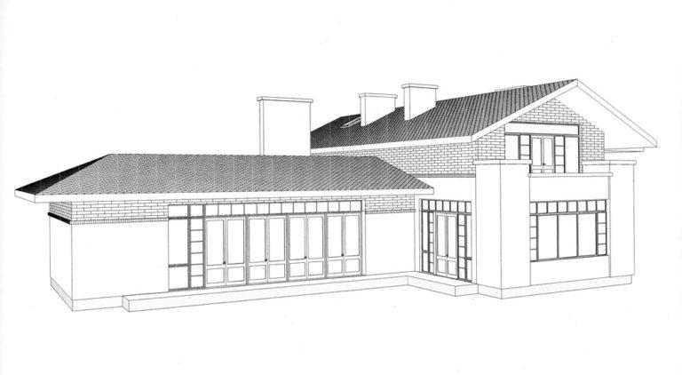 Фасад загродного дома Аксонометрия