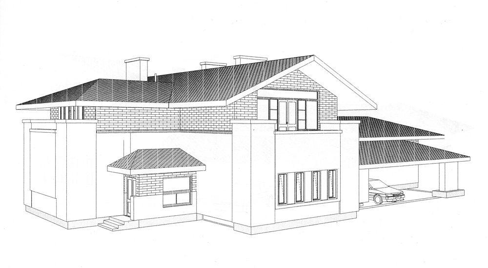 Фасад загородного дома . Общий вид