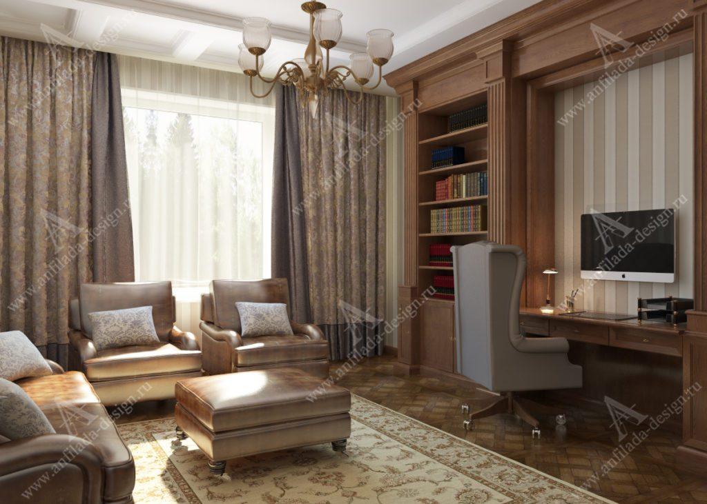 Кабинет в Классическом стиле Загородный дом
