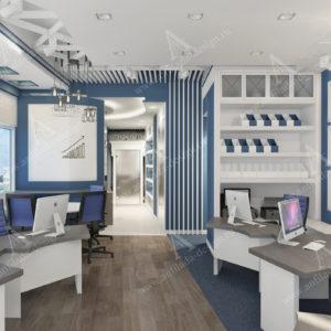 Дизайн проект офиса в синих цветах