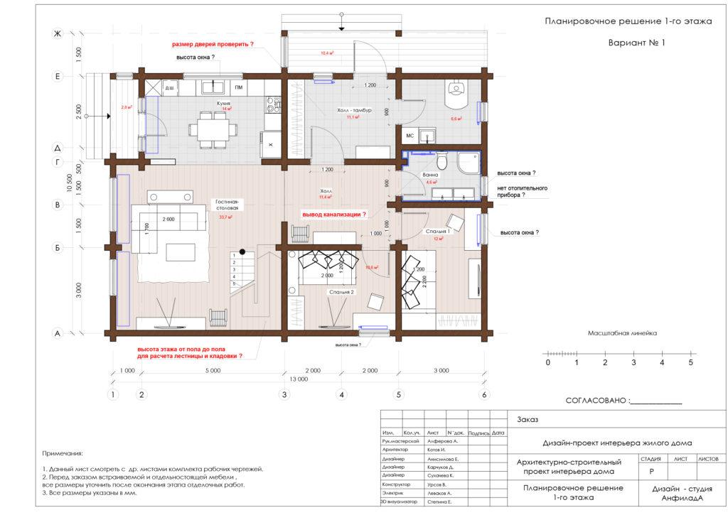 План дома из бруса . Первый этаж