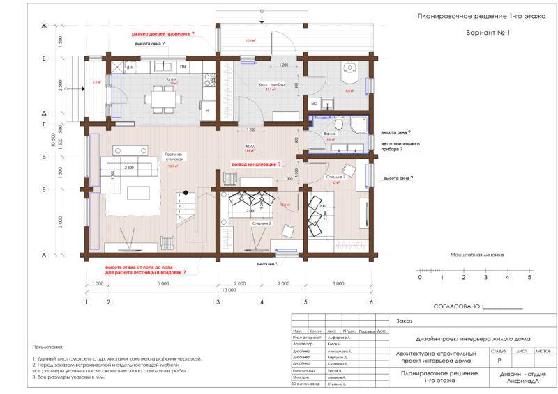 План дома из бруса Первый этаж
