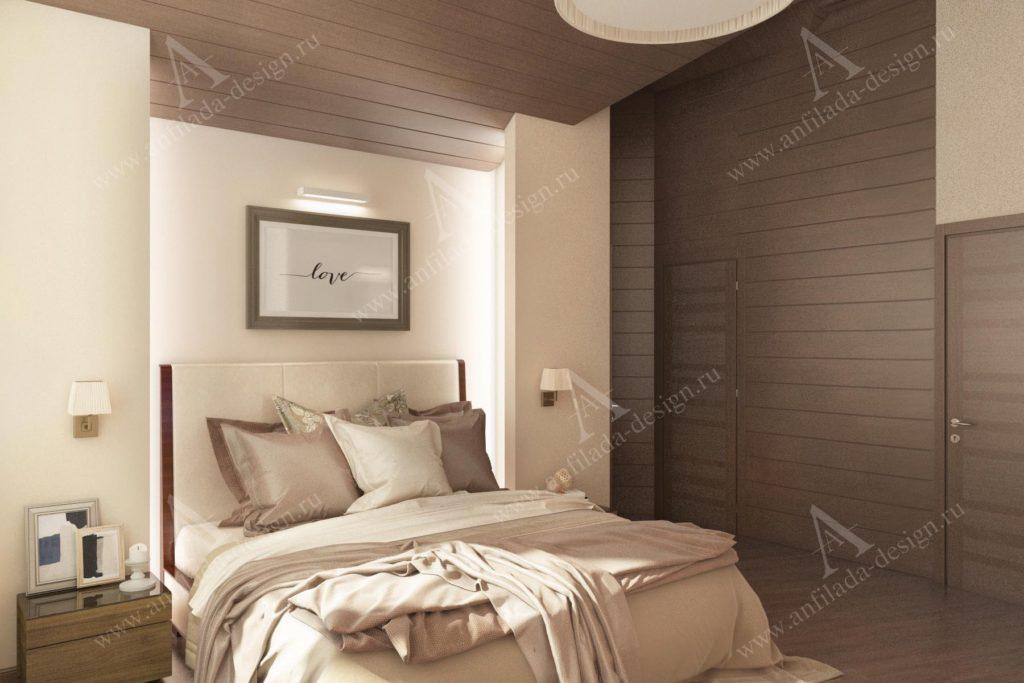 Спальня дома из бруса