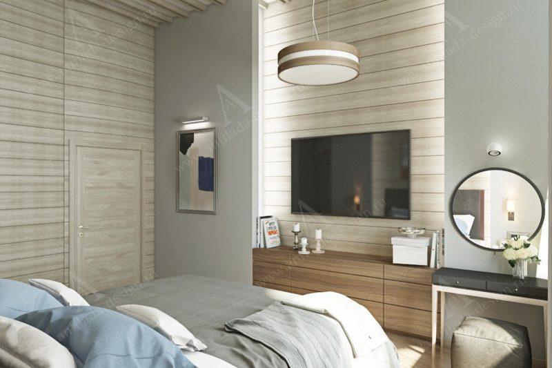 Дизайн спальни из бруса