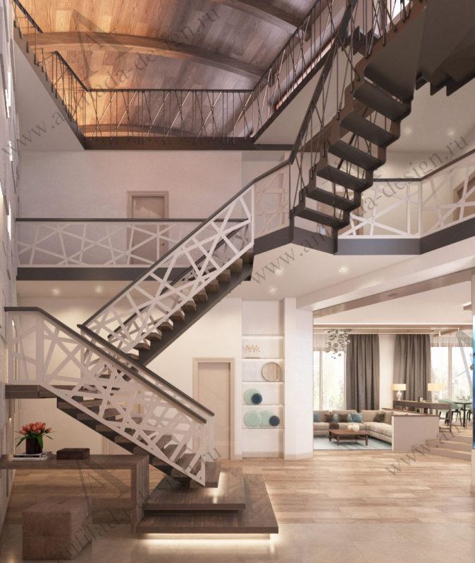 Дизайн лестницы в загородном доме