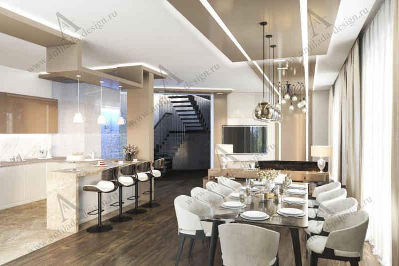 Дизайн интерьера гостиной в современном коттедже