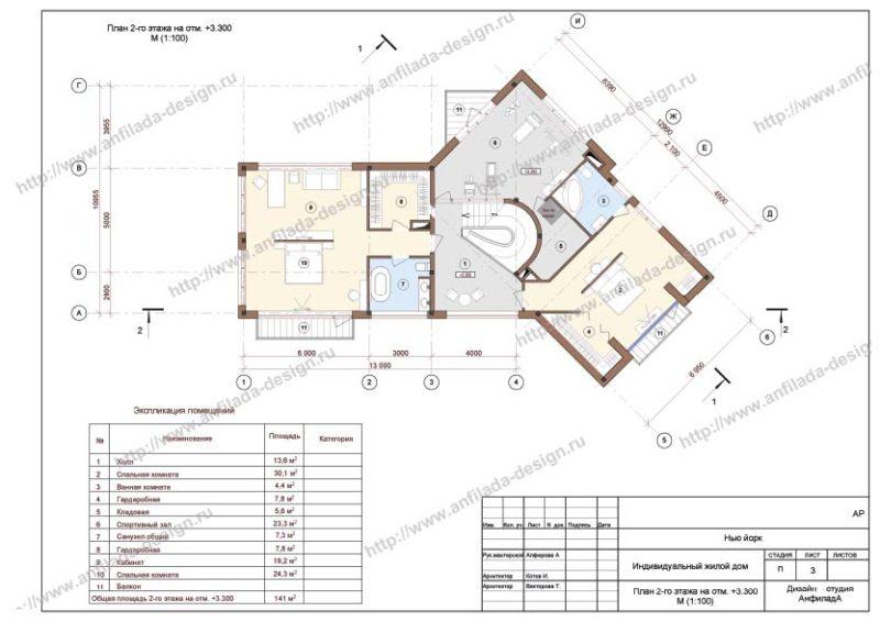 Планировка загородного дома. 2 этаж