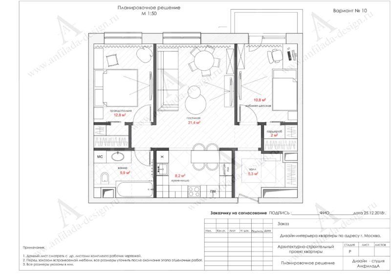 Дизайн проект квартиры. Планировки