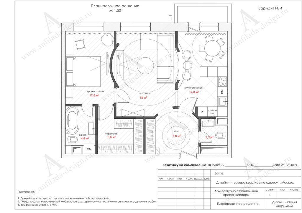 Планировочное решение интерьера квартиры