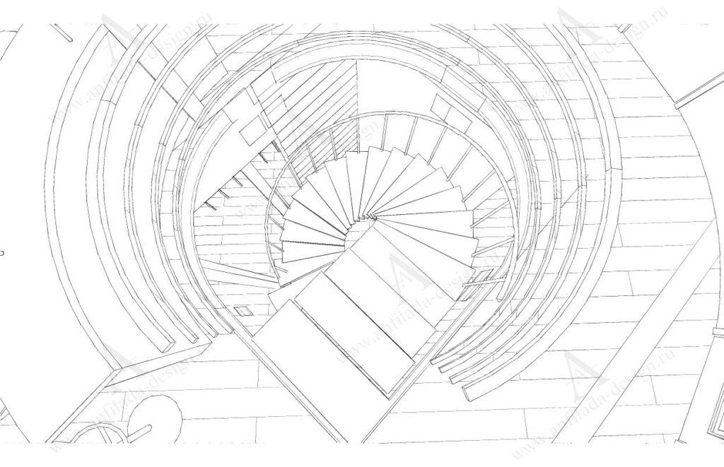 Лестница в доме из дерева