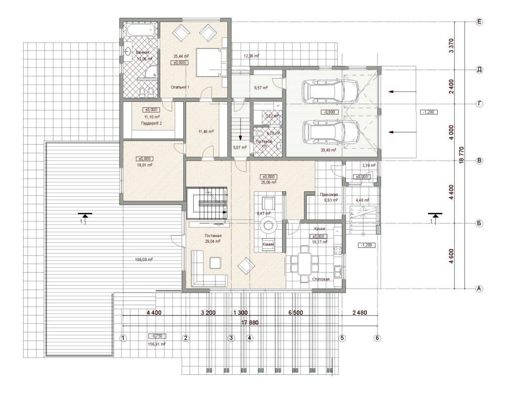 План дома. 2 этаж планировкочное решение