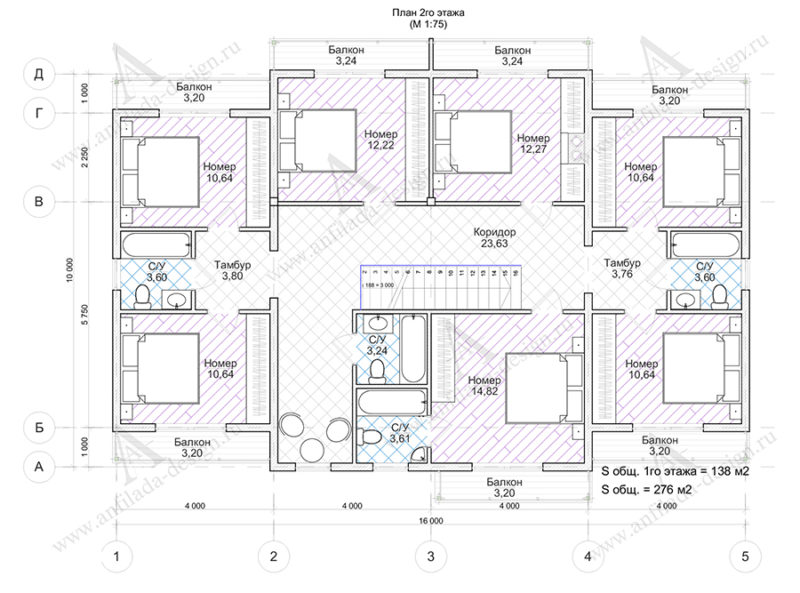 План 2-го этажа мини гостиницы
