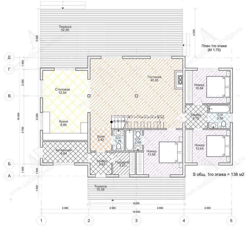 План 1-го этажа гостиницы