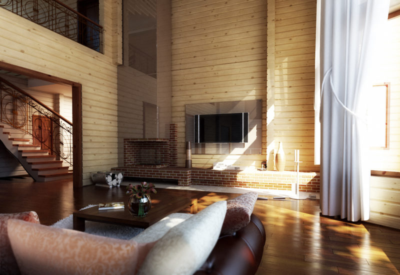 Гостиная с камином в доме из бруса