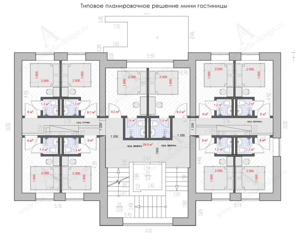 Проект планировки хостел