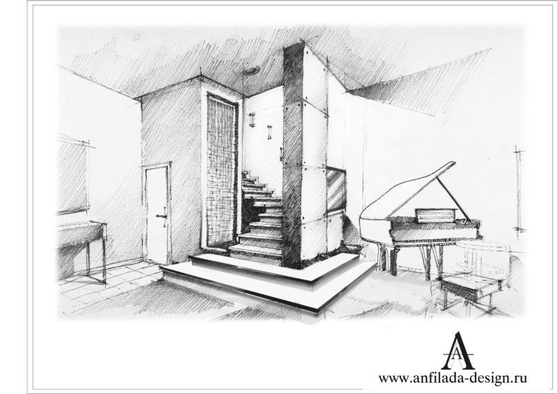 Дизайн гостиной таунхаус