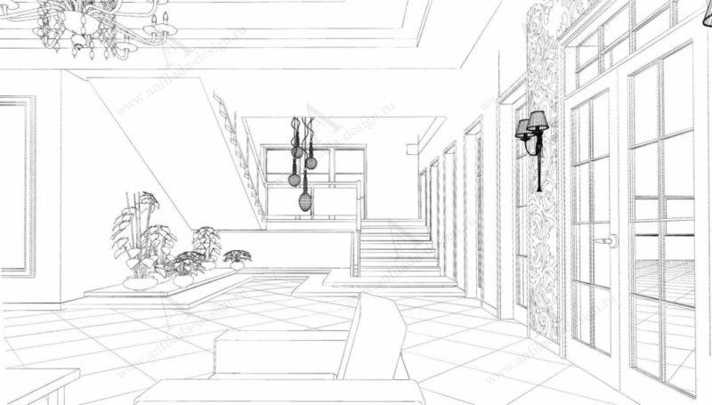 Дизайн проект интерьера лестницы гостиницы