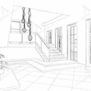 Дизайн проект лестницы гостиницы