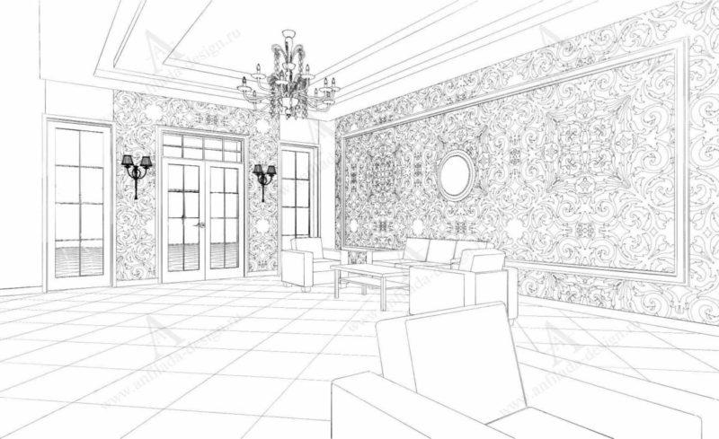 Дизайн проект интерьера Классической гостиницы