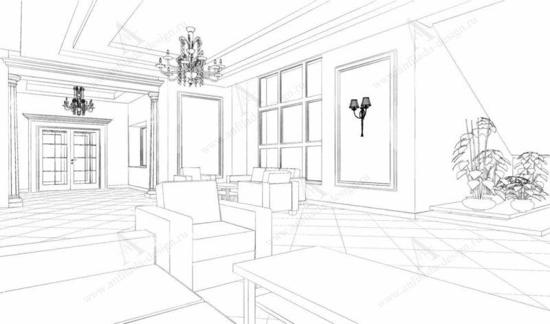 Дизайн проект холла интерьера гостиницы