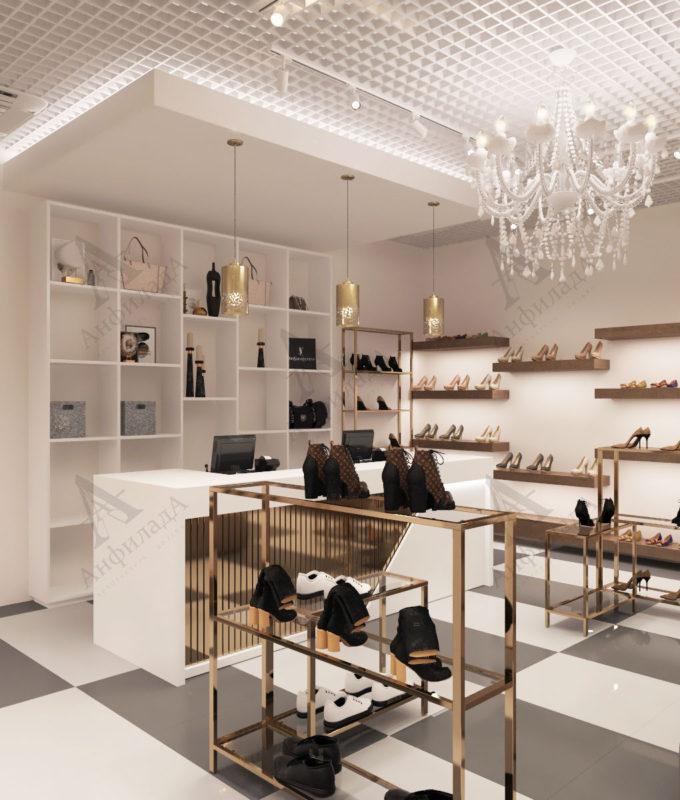 Дизайн магазина обуви в светлых тонах