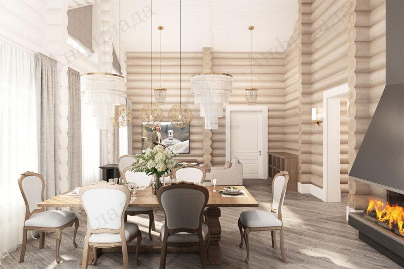 Интерьер гостиной деревянного дома