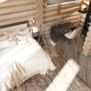 Дизайн спальни дома из оцилиндрованного бревна