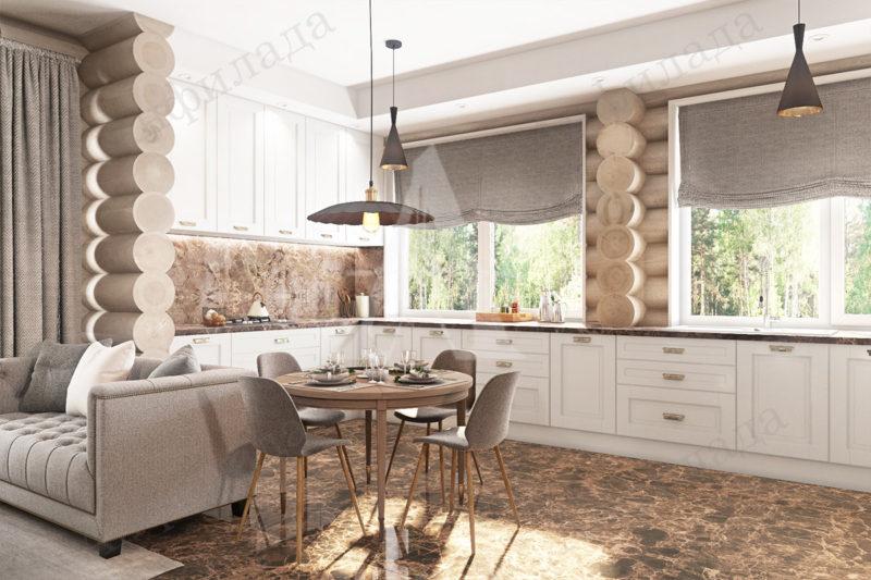 Кухня деревянного дома