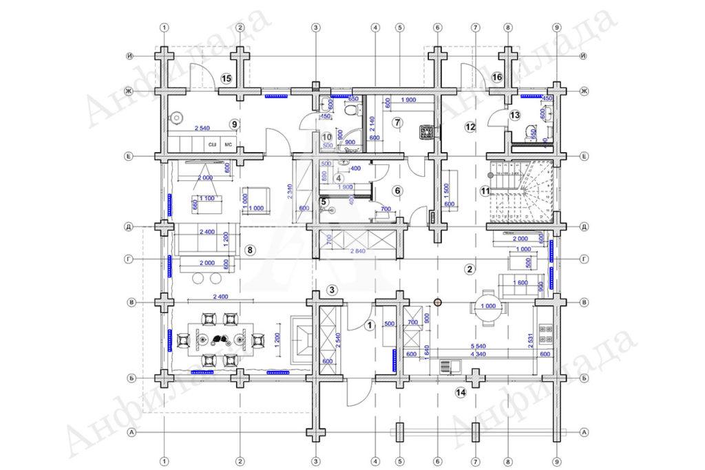 Проект дома рабочаа документация 1 этаж