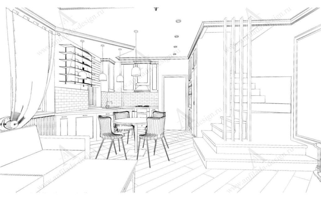 Дизайн гостиной в таунхаусе