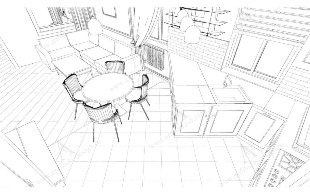 Дизайн проект интерьера гостиной таузхаус