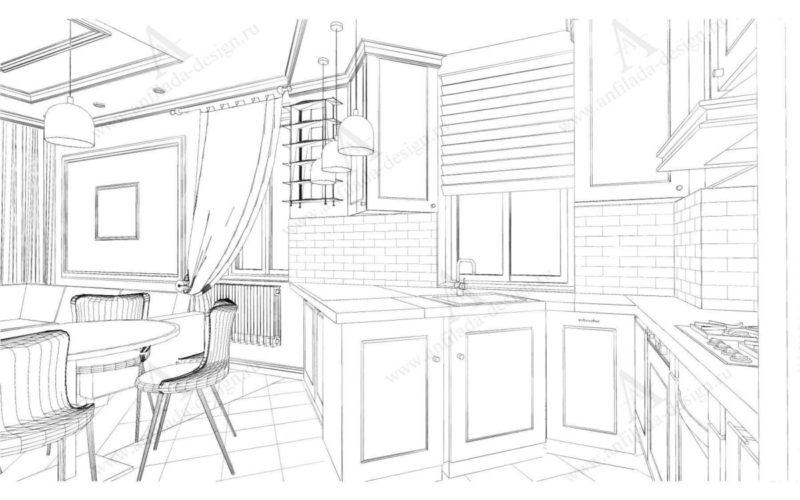 Дизайн проект интерьера кухни в таунхаусе