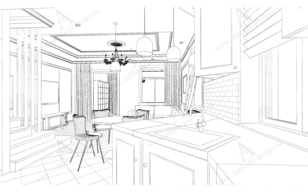 Дизайн кухни таузхаус