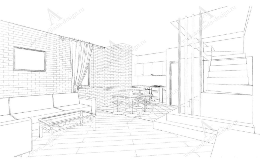 Дизайн проект гостиной таунхаус