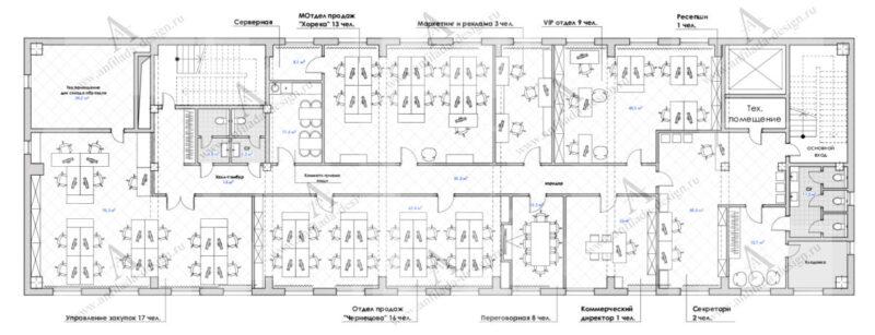 Планировочное предложение дизайна офисного пространства