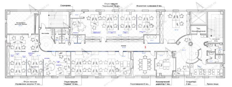 План офисного пространства для дизайна интерьера офиса
