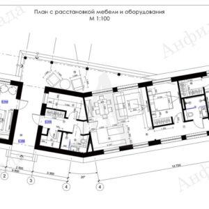 Проект одноэтажного загородного дома вписанного в природу