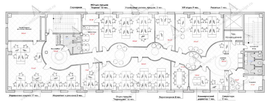 Планировка интерьера офисного помещения