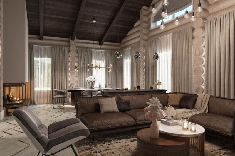 Дом из дерева интерьер гостиной
