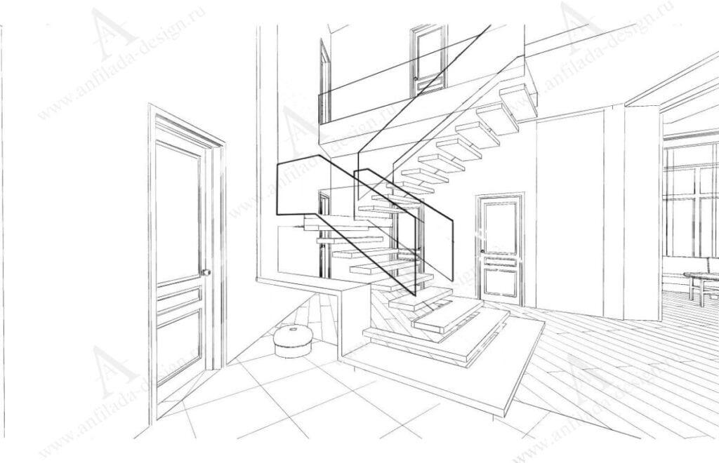 Лестница в доме современный стиль